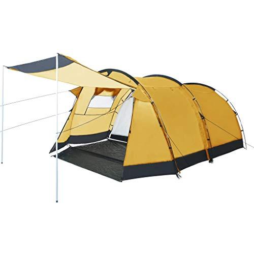 vidaXL Tente de Camping Tunnel Randonnée Voyage Extérieur Aventure de Camping Résistant aux UV et à l'eau Stable Durable 4 Personnes Jaune