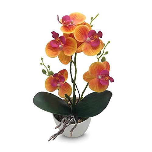 Orchidee fiori artificiali di Phalaenopsis 31 cm di altezza Fiori di seta finta in plastica con vaso per la decorazione della tavola dell'ufficio di casa di nozze (arancia)