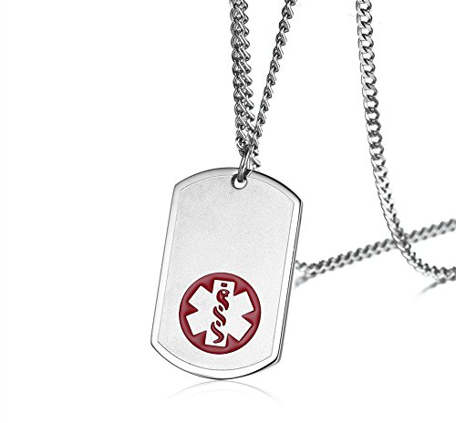 VNOX Men's Stainless Steel Customized Medical Alert ID Dog Tag Pendant Necklace Sos Emergency Jewelry,Free Engraving