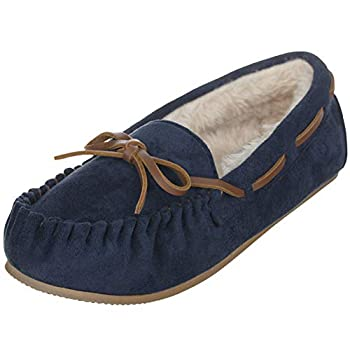 ILLUDE Women's Moccasin Slipper Vegan Suede Faux Fur Lined Indoor & Outdoor Moccasins Slip On Loafers Moccasins Shoes  8 Navy