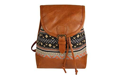 Sunny Times - Rucksack Damen Klein, Cityrucksack Daypack für Frauen und Mädchen zum Wandern, für Ausflüge, Ethno Indianer Festival Rucksack, (Schwarz)