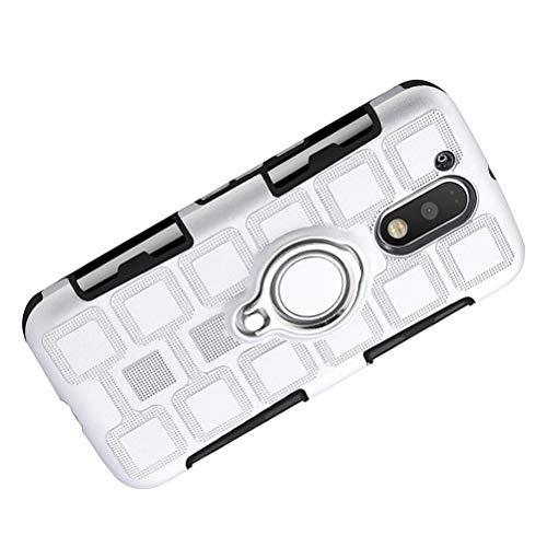 Capa de telefone para corrida esportes três em um com clipe traseiro 360 graus anel magnético resistente à prova de choque TPU macio e PC rígido sólido 3 camadas capa de telefone para Moto G4 (prata),