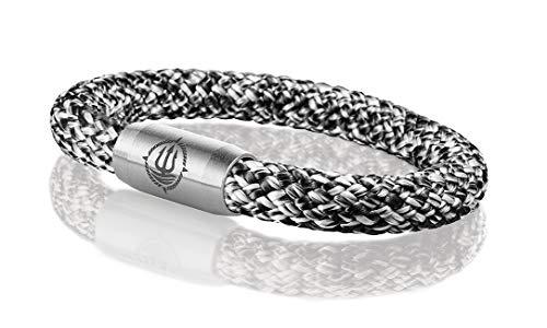 Maritimes Seemannsgarn Segeltau Armband schwarz-grau 8mm, Matrose (stahlfarben), XL - Gelenkumfang von 18 cm bis 21 cm
