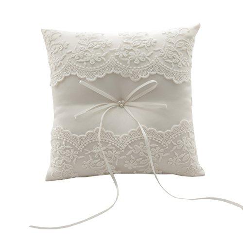 silktalk Almohada de Anillo de Boda hecha a mano cinta de arco Beige mosca Cojín de anillo portador encaje algodón 21 cm * 21 cm
