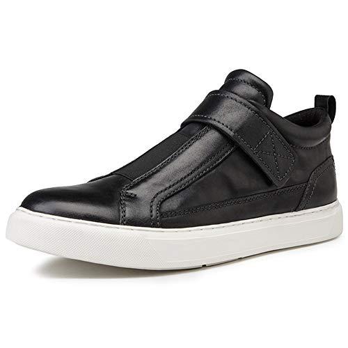 JDDRCASE heren sportschoenen, plat, schaatsvorm, rond, van echt leer, haak en loopband, antislip, brochureband
