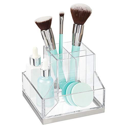 mDesign Stehsammler für Schminke – Make-up Organizer mit 6 Fächern für Lippenstift, Mascara etc. – Schminkaufbewahrung aus Kunstoff für Wasch- und Schminktisch – durchsichtig und silberfarben