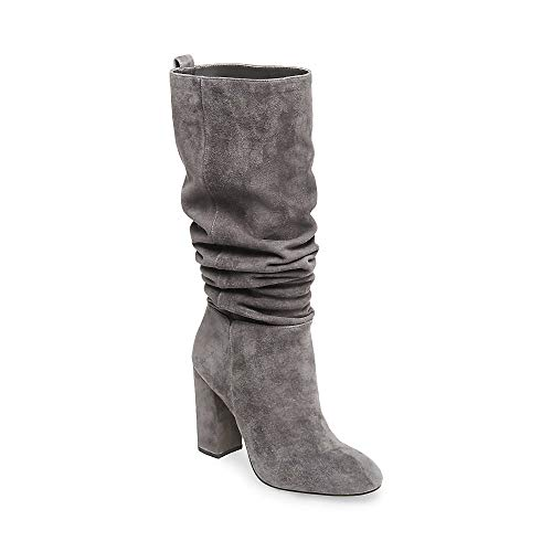 STEVEN by Steve Madden Womens Tila Suede Closed Toe Knee, Grey Suede, Size 5.0