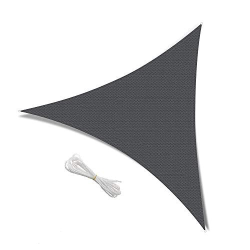 Patio Shack Sonnensegel 5x5x5 Meter Dreieckig Wasserdicht, UV Schutz Polyester Wasserabweisend Sonnenschutz für Garten Balkon und Terrasse, Grau(5 x 5 x 5m)