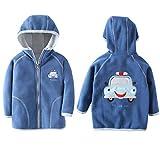 HILEELANG Toddler Boy Hood Fleece Jacket Cartoon Winter Spring Autumn Warm Lightweight Sweatshirt Jacket Coat Outwear Light Blue