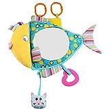 Huakii Espejo del Juguete del Asiento de Carro, Espejo del Juguete del Asiento de Carro del bebé del Modelo de los Pescados para el Juguete Educativo de la Felpa del bebé recién Nac