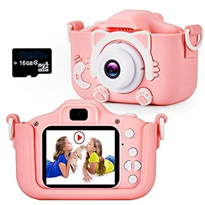 Te-Wai Kids Digital Camera for Girls LCD HD 2.0 Inches Screen Gifts for Boys ,Children Toddler HD Video Camera Mini Camcorder Gift for 3-12 Years Old Child Selfie Camera with16GB Memory Card (Pink) by TE-WAI