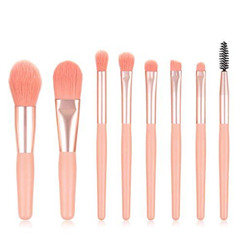 Fanxp 8Pcs Portable Pink Makeup Brush Set, Foundation Loose Powder Eye Shadow Blush Mixed Makeup Brush Set