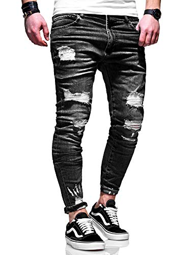 behype. Herren Destroyed Stretch Jeans-Hose Used 80-6376 Schwarz W36/L32