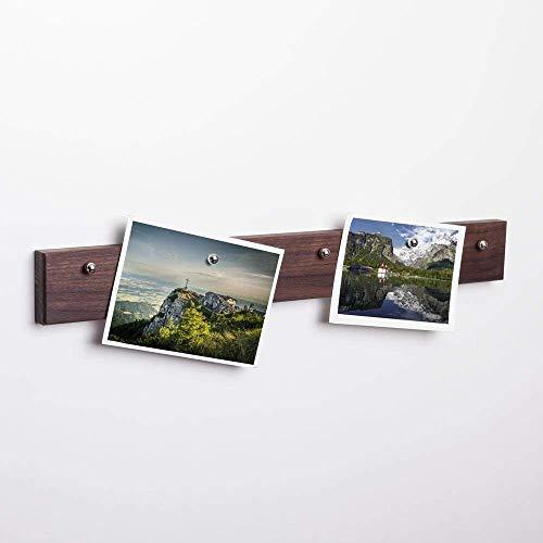 Woods Fotoleiste aus Massivholz inkl. Magnete - handgefertigt in Bayern I Wanddekoration aus Holz für Fotos Postkarten Notizen I in Eiche - Nussbaum oder Ahorn und den Länge 50-75 oder 100 cm