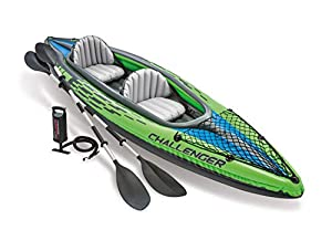 The Intex Challenger K2 Kayak is sporty and fun with a streamlined design for easy paddling The bright green color and sporty graphics make the kayak highly visible in the water 2 86 inch aluminum paddles and an Intex high output pump for easy inflat...