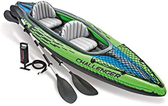 Intex Challenger K2 Kayak, 2-Person Inflatable Kayak Set with Aluminum Oars and High Output Air-Pump, Grey/Blue (68306NP)