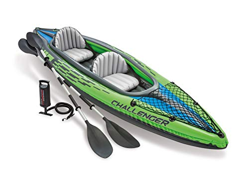 Intex Challenger K2 Kayak, 2-Person Inflatable Kayak Set with Aluminum Oars and High Output Air-Pump, Grey/Blue