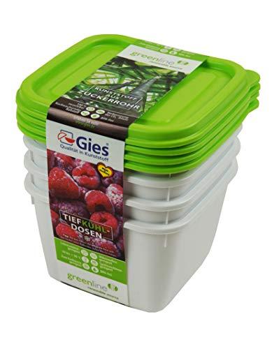Gies Fiambreras para congelador, plástico, Verde, 11,5 x 11,5 x 7 cm