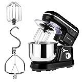 Nestling - Robot de cocina (1200 W, silencioso, 5 l, 5 velocidades, protección contra salpicaduras, incluye batidora, gancho para amasar y batidor), color negro