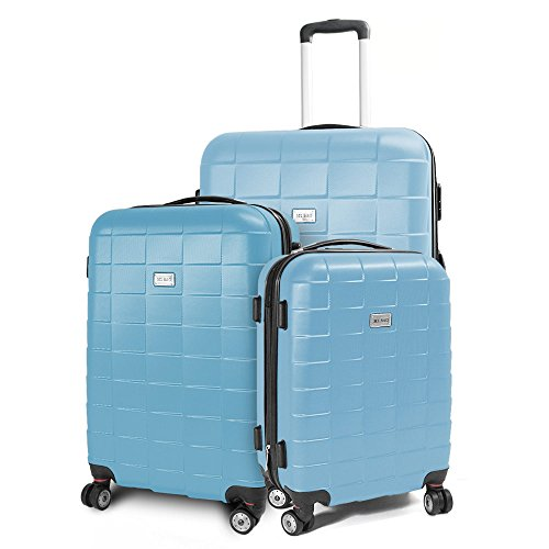 BERWIN Kofferset 3-teilig Reisekoffer Koffer Trolley Hartschalenkoffer ABS Teleskopgriff Modell Squares (Himmelblau)