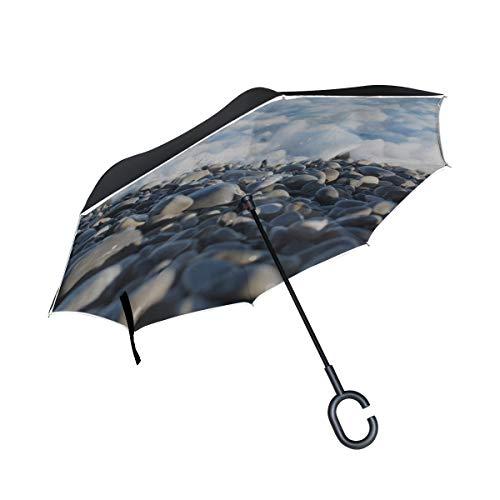 Double Layer Inverted Reverse Umbrella Auto Glatte Strange Pebbles Fold Umbrella Kinderwagen Klappstühle Umbrella Winddichter UV-Schutz für Regen Mit C-förmigem Griff
