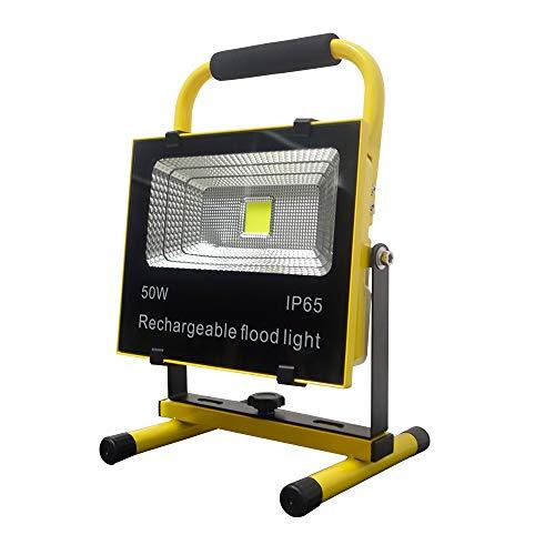 UISEBRT LED Baustrahler AKKU 50W Warmweiß - LED Fluter Arbeitsscheinwerfer für den Innen-und Außenbereich - Werkstatt, Baustelle, Garage - Wasserdicht IP65 (Warmweiß)