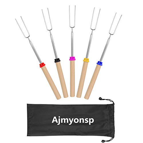 Ajmyonsp Extendable Marshmallow Roasting Fork with Wooden Handle, Set of 5