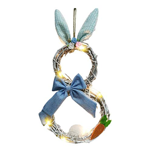 Sysow Easter decoration, Easter bunny garland with lights, blossom rabbit garland, Easter door wreath, Easter LED lights, wreath, rattan circle pendant for home decoration