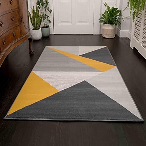 The Rug House Milan Tapis Moderne et Riche au Design Abstrait Ocre Jaune Moutarde Doré Graphite Gris Ocre