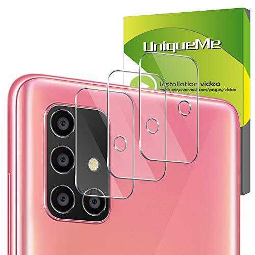 UniqueMe [3 Pack] Protector de Lente de cámara para Samsung Galaxy A51, Vidrio Templado [9H Dureza] HD Film Cristal Templado