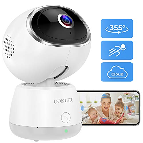 Wireless Security Camera UOKIER WiFi Indoor IP Camera Pet Camera Pan/Tilt/Zoom, 1080P Baby Monitor with Smart Motion Detection, Motion Tracking, Night Vision, 2-Way Audio, Support TF/Cloud Storage