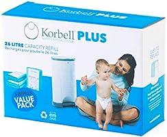 Korbell KR280DR3B - Cestino di ricarica - MAXI - 26 L - X3 - Biodegradabile - Controllo degli odori - 26L - 330 strati,...