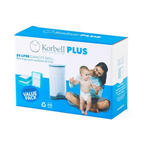 Korbell - Nachfüllpackungen für Windelbehälter - MAXI - 26 L - x3 - Biologisch abbaubar - Geruchskontrolle - Kapazität 330 Windeln