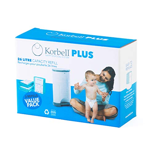 KORBELL - Recarga de pañales - MAXI - 26 L - X3 - Biodegradable - Antiolor - Capacidad de 330 capas por recambio