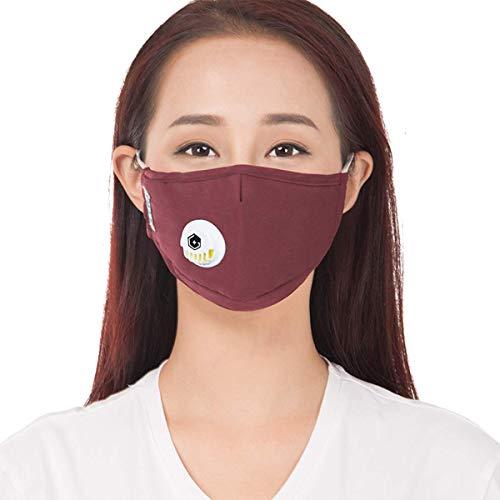 ZIGJOY GREENCARE 2.5 Luftverschmutzungsmasken mit 5 Luftfilter-Baumwolltüchern Waschbar Wiederverwendbar Mundschutz mit Staubschutz und Einstellbarer Nasenklammer RED