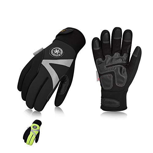 Vgo 2Pairs -4℉ or above 3M Thinsulate C100 Lined High Dexterity Touchscreen Synthetic Leather Winter Warm Work Gloves, Waterproof Insert (Size M,...