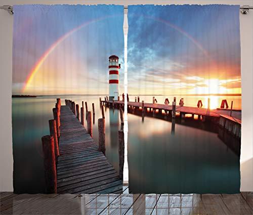 ABAKUHAUS Leuchtturm Rustikaler Gardine, Wolken Sonnenuntergang auf See, Schlafzimmer Kräuselband Vorhang mit Schlaufen und Haken, 280 x 225 cm, Mehrfarbig