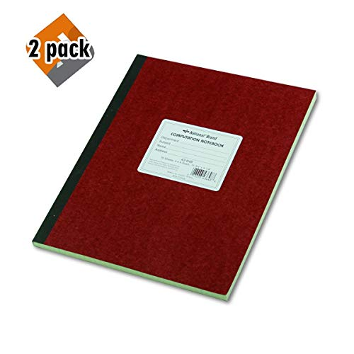 National Brand Computation Notebook, 4 X 4 Quad, Brown, Green Paper, 11.75 x 9.25 Inches, 75 Sheets (43648) 2-Pack
