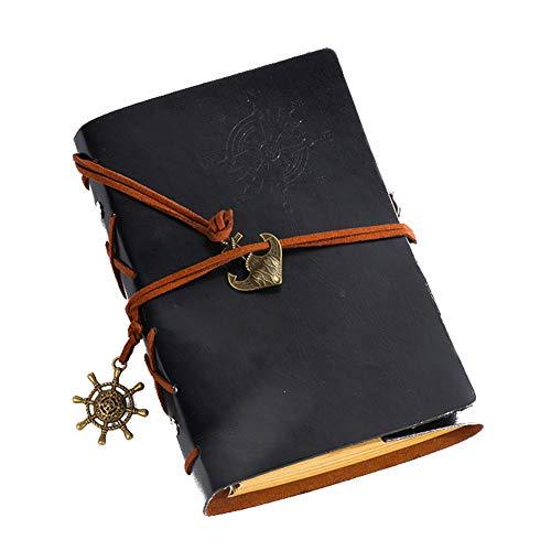 Qinlee Diario vintage con diseño de barco pirata, bloc de notas, planificación semanal, idea de memoria, libro para viajes, diario de estudiantes, notas (marrón)