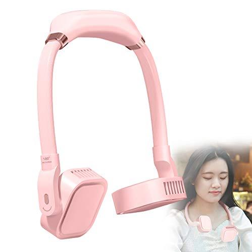 YONGCHY Ventilador de Cuello portátil, Mini Ventilador de Manos Libres Ventilador de Banda para el Cuello portátil Recargable USB, Batería de 4000 mAh, El Ventilador Privado es Adecuado,Rosado