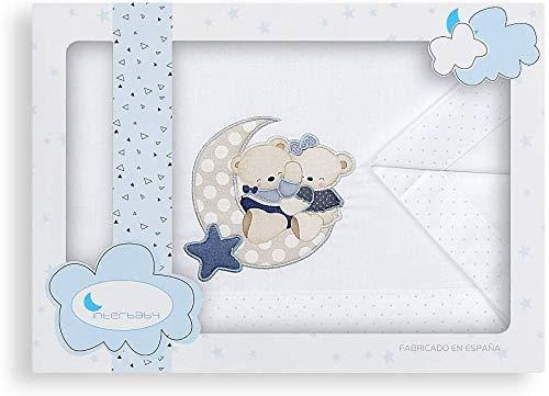 Triptico Sabanas 100% Algodón Minicuna 50X80 - (bajera+encimera+funda almohada) (Amorosos azul)