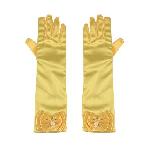 Toyvian 1 par de Guantes de nia de Flores de satn con Dedos Largos y Guantes de Vestir de Bowknot para Bodas en la Noche (Amarillo)