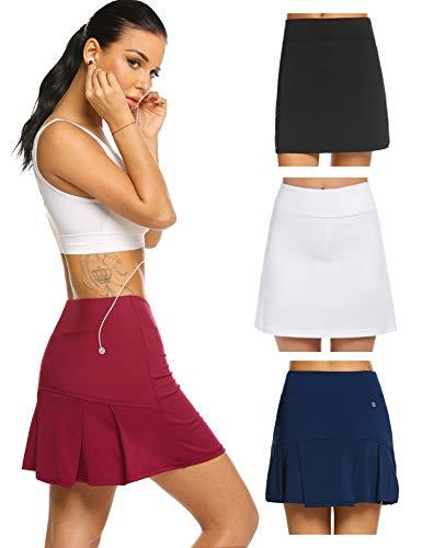 Damen Rock Kurz Tennisrock Hose mit Taschen für Frauen Mädchen Sport Rot M