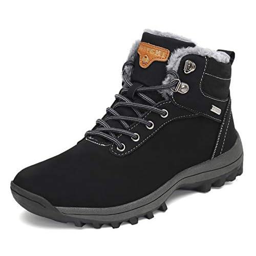 Pastaza Stivali da Neve Uomo Donna Trekking Scarpe Inverno Impermeabili Outdoor Pelliccia Sneakers Nero,44EU