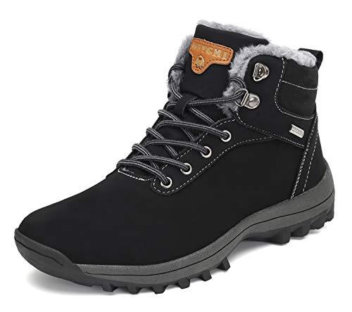 Pastaza Herren Winterstiefel Damen Gefüttert Winterschuhe Wasserdicht Trekking Wander Schuhe Outdoor rutschfest Schnee Stiefel Winter Boots Schwarz, 37