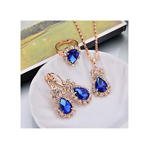 ZYQXB 6 Collar Colgante de Color/Pendientes/Anillos (Metal Color : Blue)