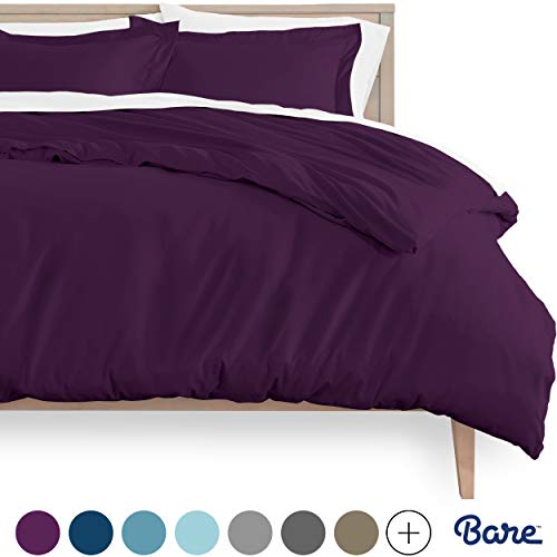Bare Home Duvet Cover and Sham Set - Twin/Twin Extra Long - Premium 1800 Ultra-Soft Brushed Microfiber - Hypoallergenic, Easy Care, Wrinkle Resistant (Twin/Twin XL, Plum)