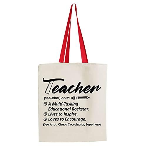 Teacher noun Definition-a multitasking educational rockstar, Thanks Giving, Teacher Appreciation, end of Term, Retirement Gift, Cotton Shopping Bag, Tote Bag. (Red Handle)