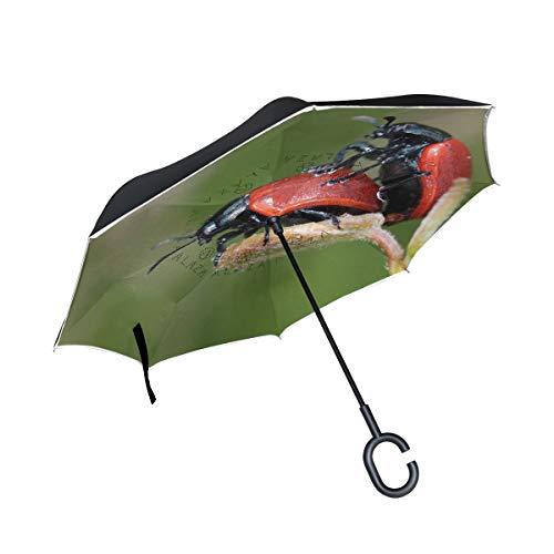 MONTOJ Marienkäfer-Pärchen-Regenschirm in C-Form, doppelschichtig, Winddicht, wendbar, UV-beständig, mit Griff, Reiseschirm