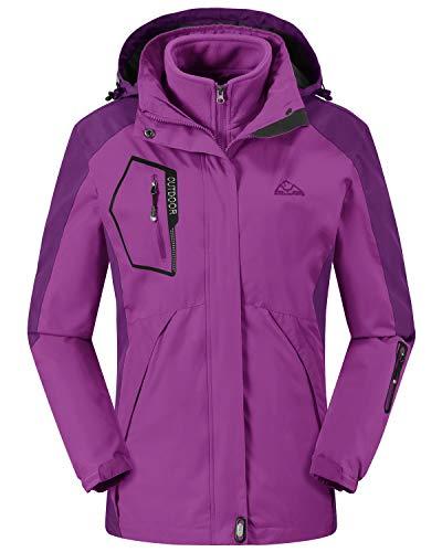 Rdruko Women's Outdoor 3-in-1 Waterproof Ski Jacket Fleece Inner Winter Coat with Detachable Hood(Purple,US S)